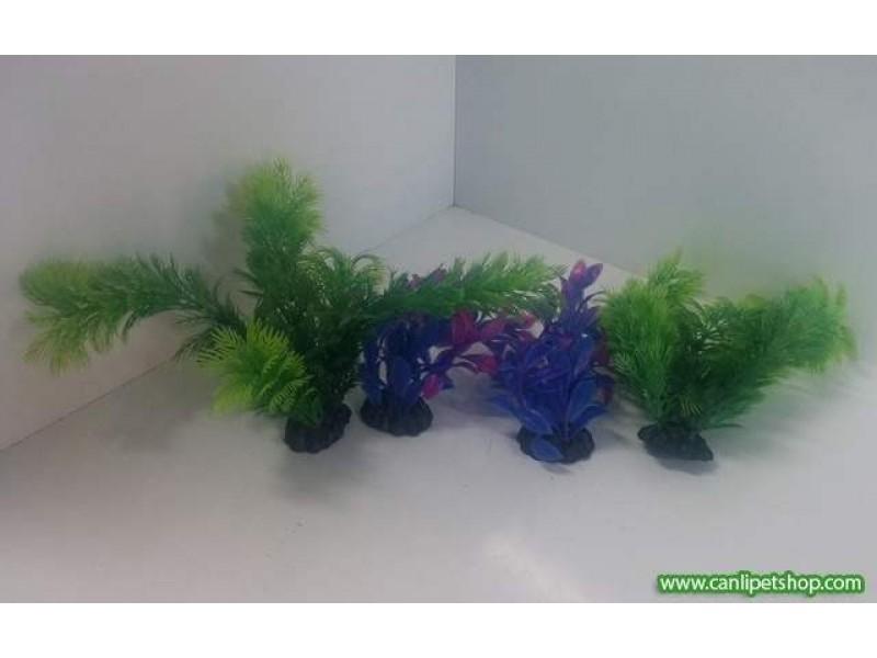 Plastik Bitki 4 Adet 16 cm Karışık Renkli